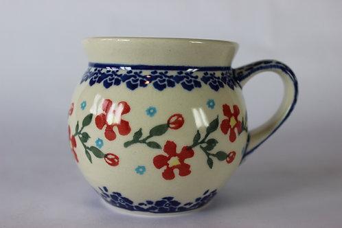 "Farmer's mug (small) ""red flowers"" factory second"