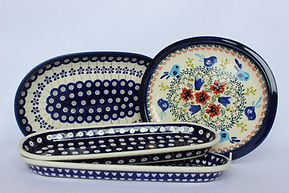 Polish Pottery Seving Dishes Trays Platters