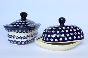 Polish Pottery Butter Dish and Butter Box