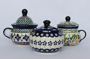 Polish Potery Sugar Bowls Jam Pots