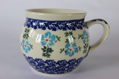 "Farmer's mug (medium) ""blue flowers"" factory second"