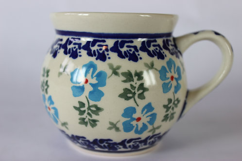 """Farmer's mug (small) """"blue flowers"""" factory second"""
