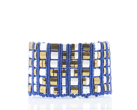 Blue and white mosaic cuff bracelet