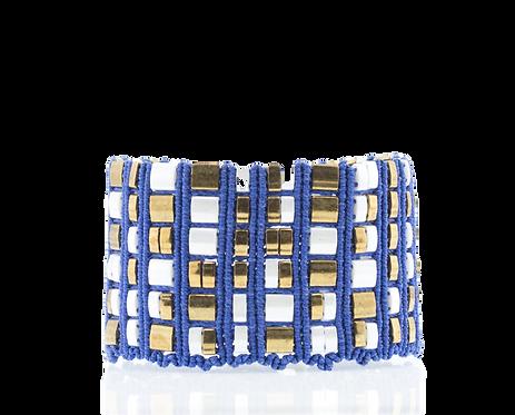Blue and white mosaic cuff bracelet