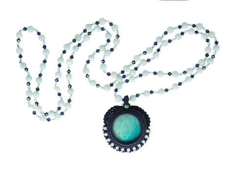 Pearl-knotted and bezeled Peruvian chrysocolla cabochon necklace