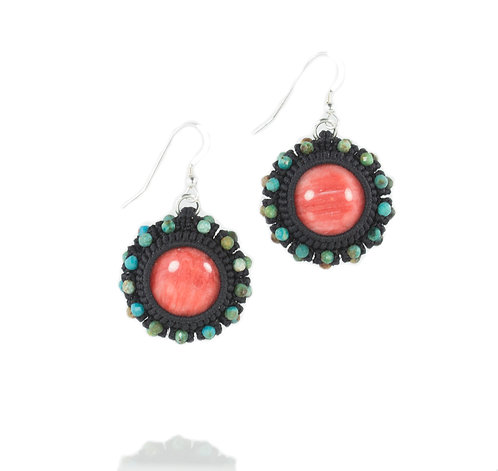 Spiny oyster and turquoise earrings