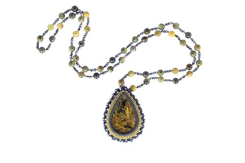 Pietersite pearl-knotted and bezeled necklace