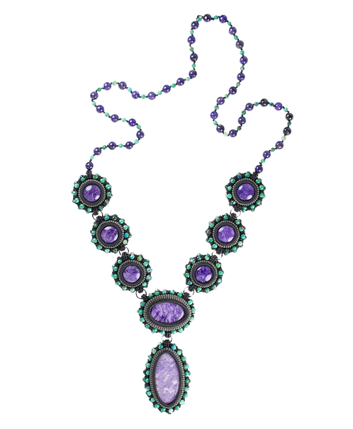 Pearl-knotted and bezeled Charorite necklace