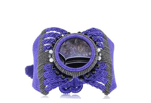 Druzy agate knotted cuff bracelet