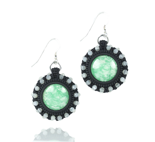 Chrysoprase and moonstone earrings