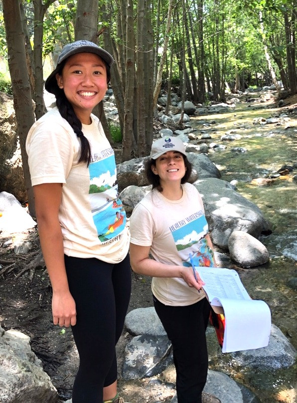 CWH Senior Scientist, Yareli Sanchez, and Staff Scientist, Courtney Bonilla, monitoring Eaton Canyon on May 31, 2019 #LARWMP