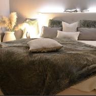 Rideaux, plaids, coussins, tête de lit e
