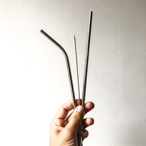 Stainless Steel Straws + Cleaning Brush