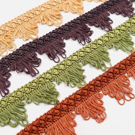 2389 Vintage gimp braid with looped fringe
