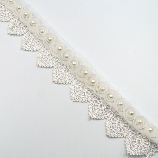 6490 38mm Guipure Lace Trim with Organza and Pearls