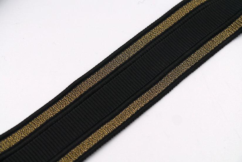6900 35mm Black Braid with Gold Border