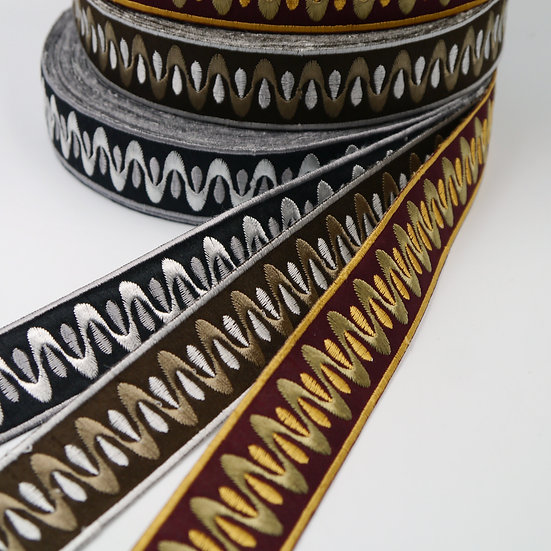 9888 30mm Wave Pattern Embroidered Braid