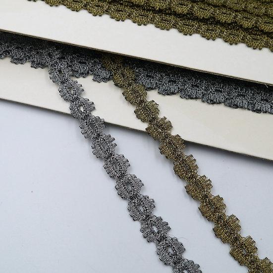 9857 15mm Elasticated Metallic Lace