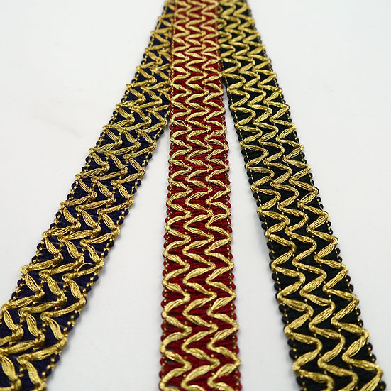 7707 20mm Braid with Metallic zig-zag design