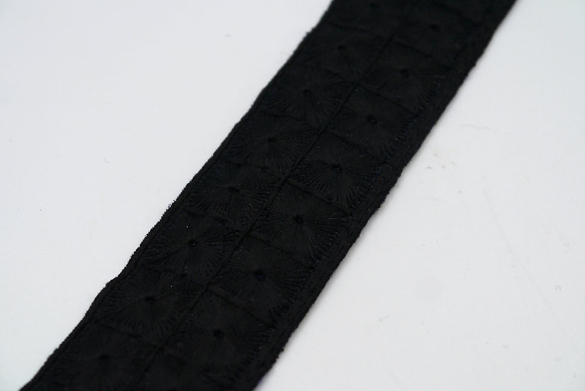 6857 32mm Black Braid with Embroidered Pattern