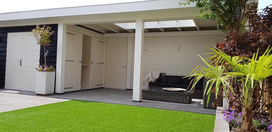 Tuinkamer met inpandige schuur en kastenwand