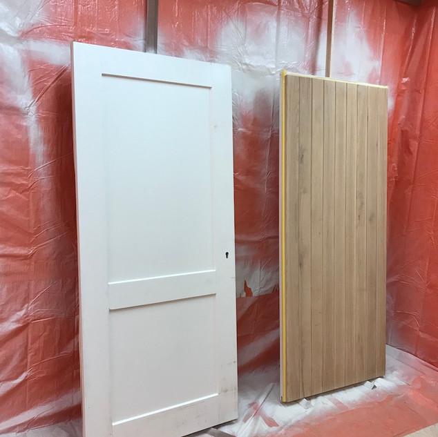 Eikenhouten deuren met meranti binnenzijde