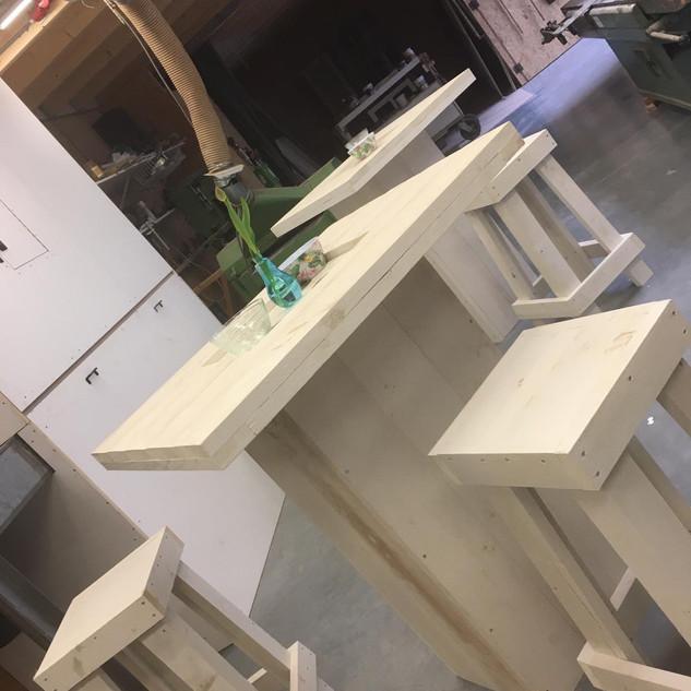 Steigerhout tafelset met krukken