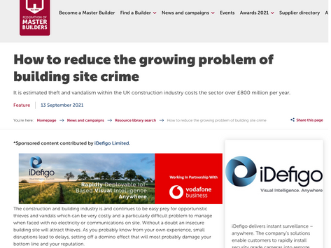 iDefigo joins up with the Federation of Master Builders on building site crime
