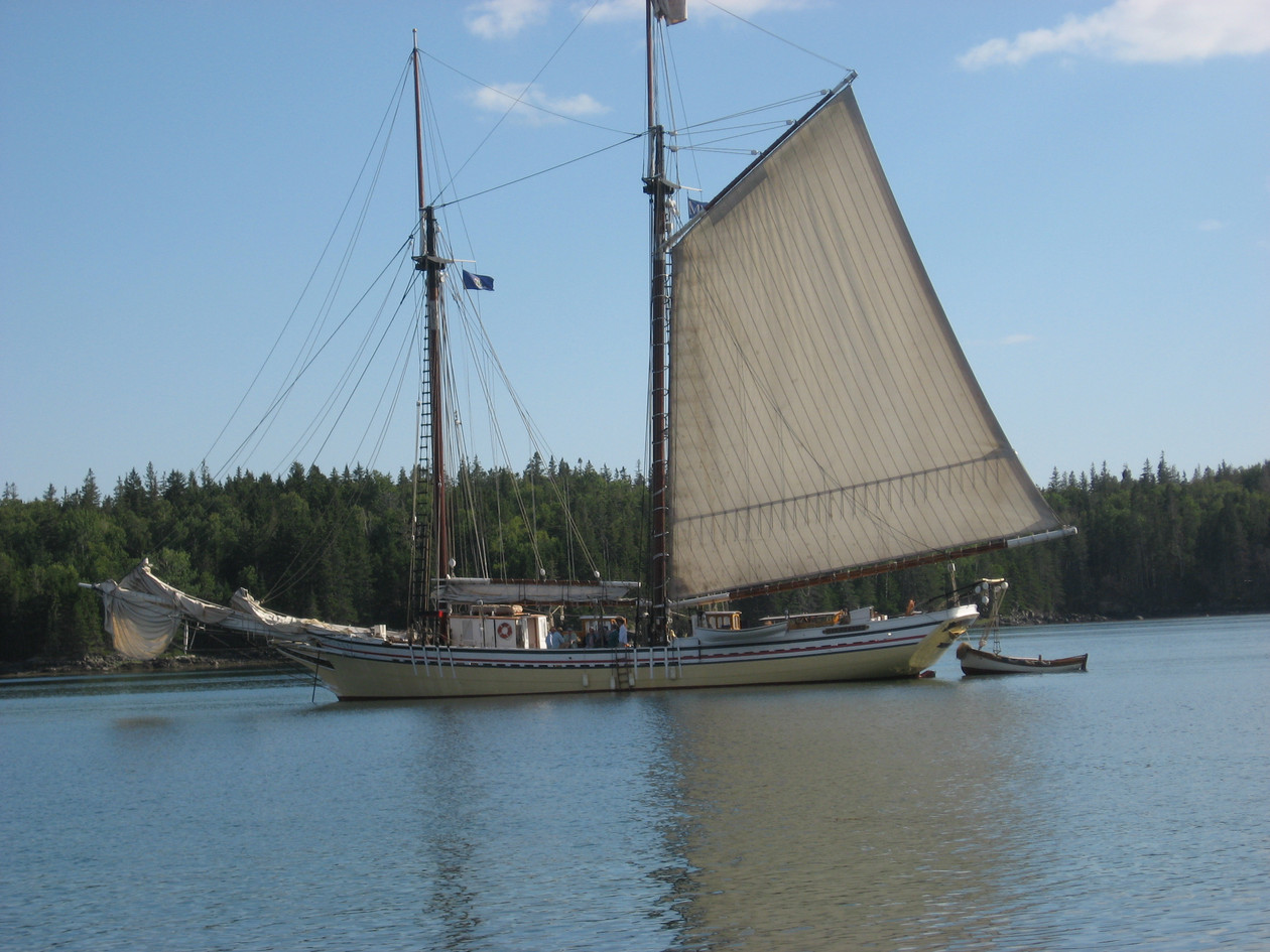 Heritage at anchor. Taken from Lobster Island Photo: Kevin Kelley
