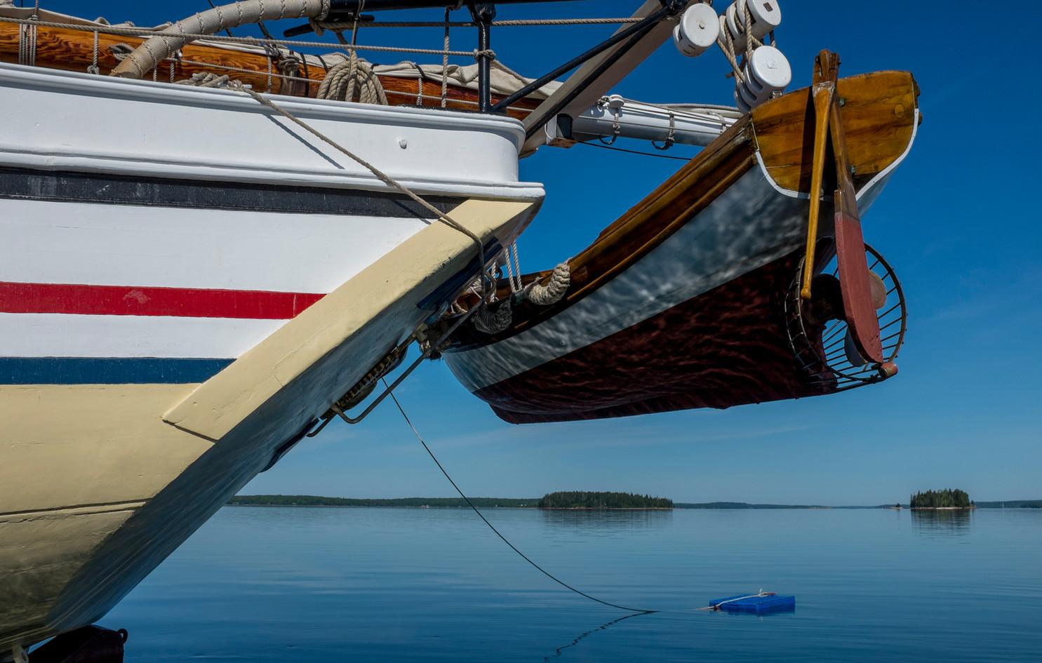 Clark Kent hoisted on the stern davits. Photo: Fred LeBlanc