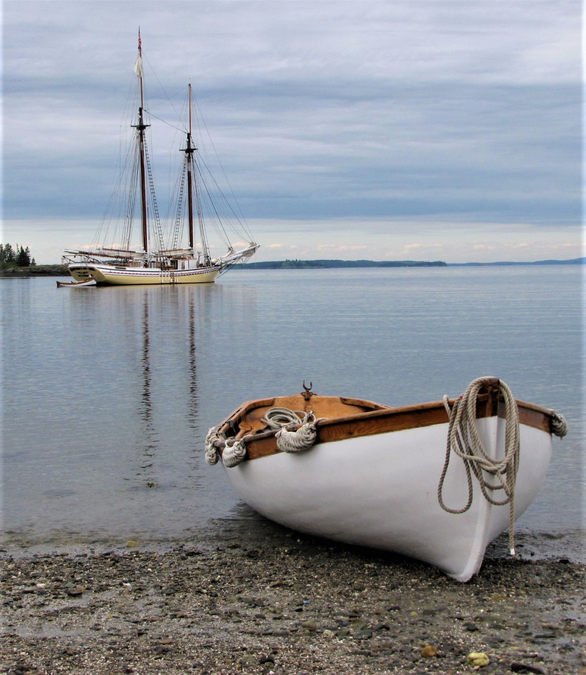 Our rowboat, Archie, on the beach Photo: Gary Becker