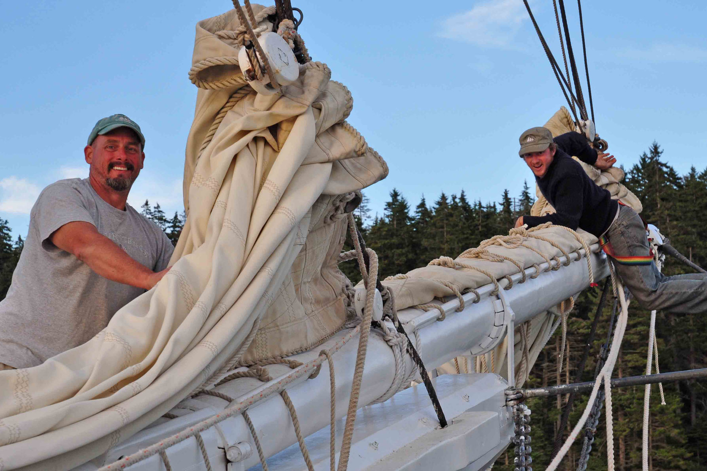 Furling the headsails after a beatiful day of sailing! Photo: Bill Carelton