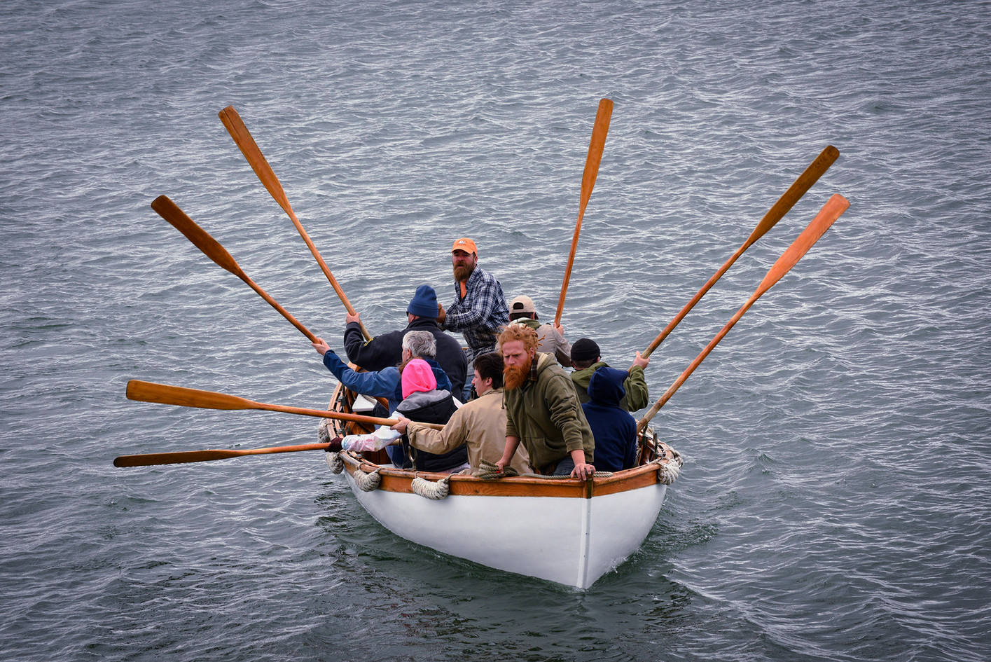 Rowing ashore to stretch our legs in an island village Photo: Marvin Moriarty