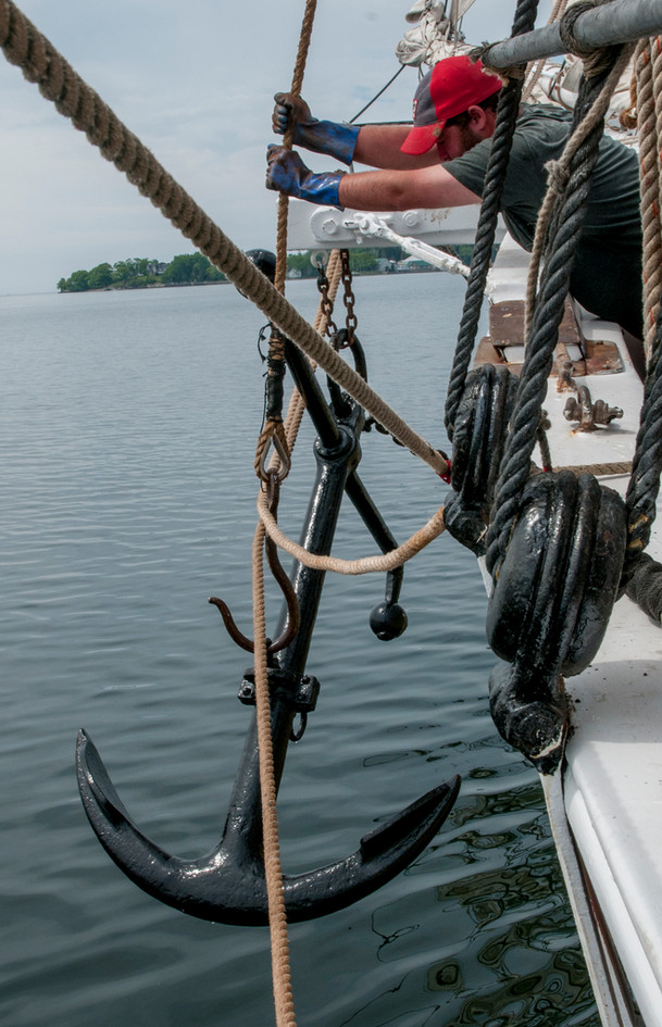 Cat and stow the anchor. Getting underway. Photo: Fred LeBlanc