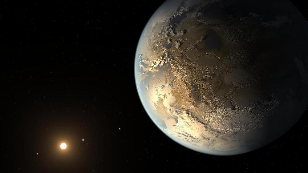Művészi illusztráció az elsőként felfedezett földszerű exobolygóról, amely a Kepler-186f nevet viseli (Kép: NASA)