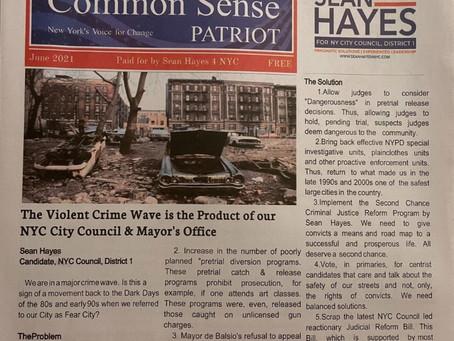 Sean Hayes 4 NYC's Newspaper.  The Common Sense Patriot June 2021 Edition