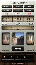 my Light Meter Pro app sample exposure measurement