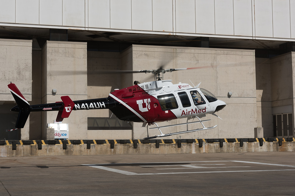 Bell 407 AirMed Helicopter N414UH lands at Heli expo in Dallas TX 2017