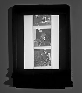 Apple iPad with white screen used as a scanning bed for medium format film