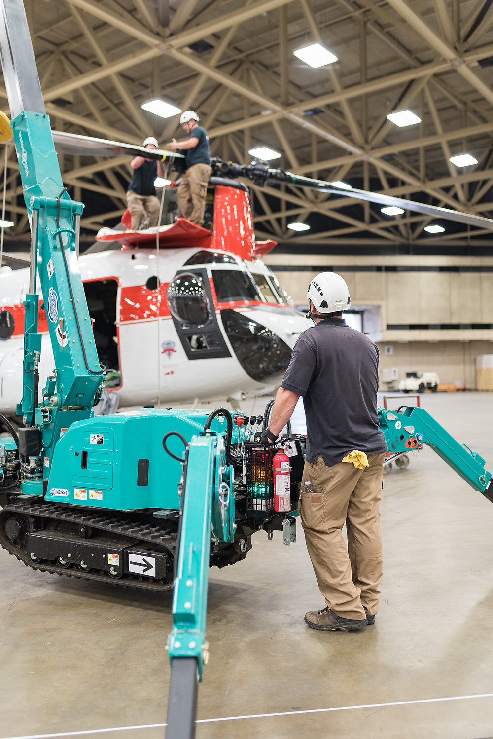 Columbia Helicopters use crane to set up the Chinook for Heli Expo 2017 Dallas TX