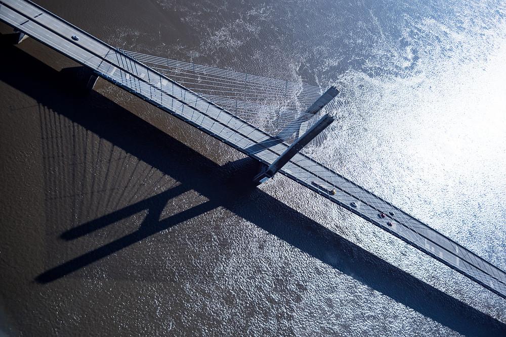cars cross Bridge Across the Mississippi, State line Illinois and Missouri, at Cape Girardeau