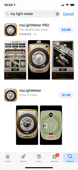 apple app store photograher light meter app for iPhone