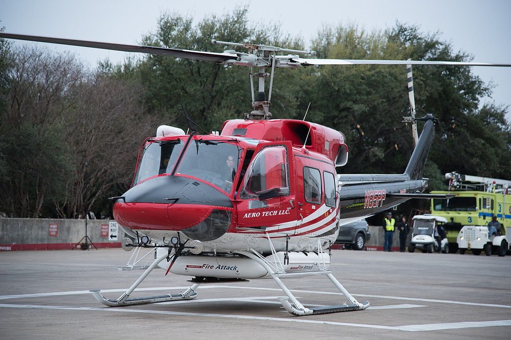 Fire Fighting Bell 212 Helicopter Arrives at the 2017 Dallas HAI Heli Expo  Aero Tech LLC N85PP