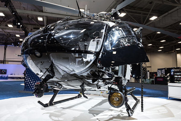 Front view of the AirBus police helicopter H145 at heli expo in Dallas TX 2017