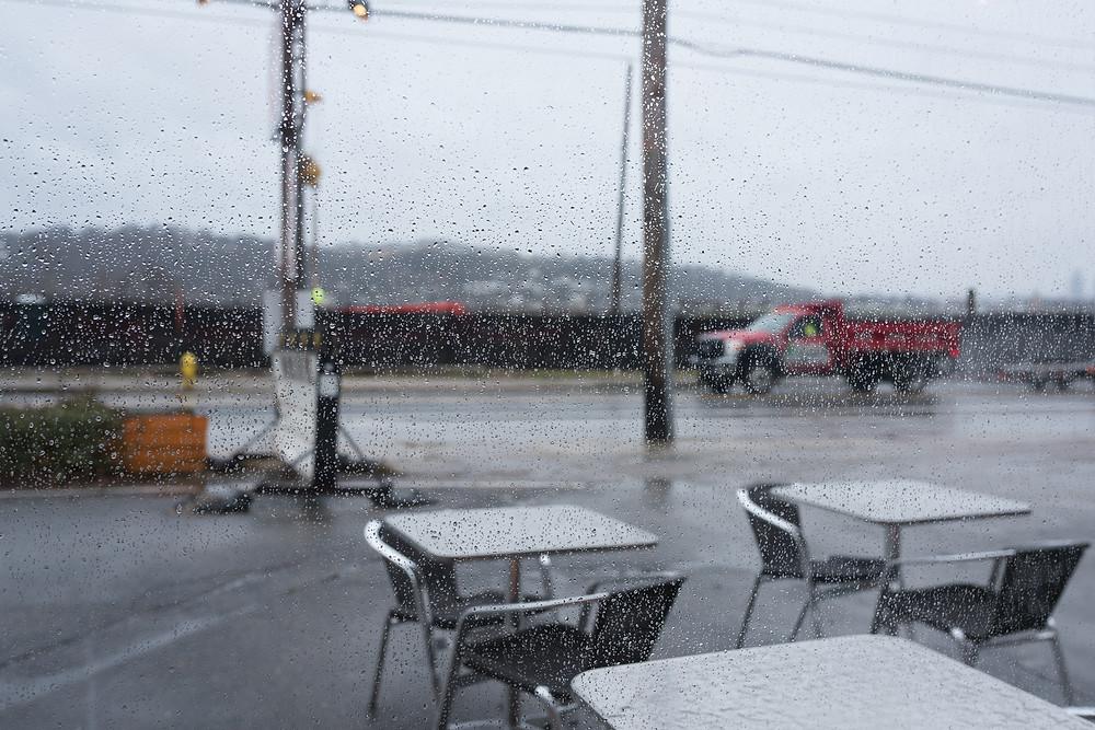 Rainy Day Cincinnati OH along the Ohio River Coffee Shop