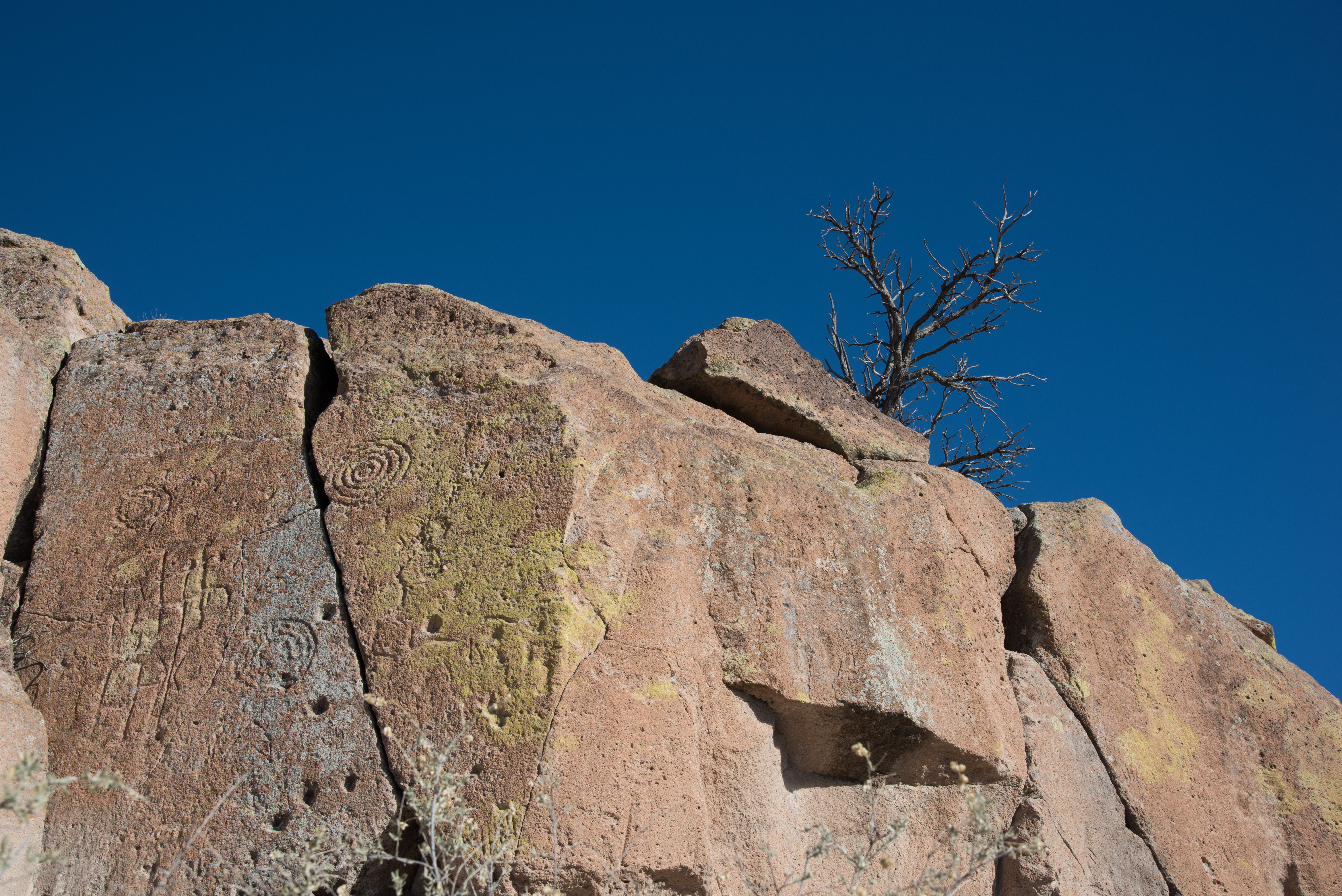Petroglyphs carved in to cliff wall