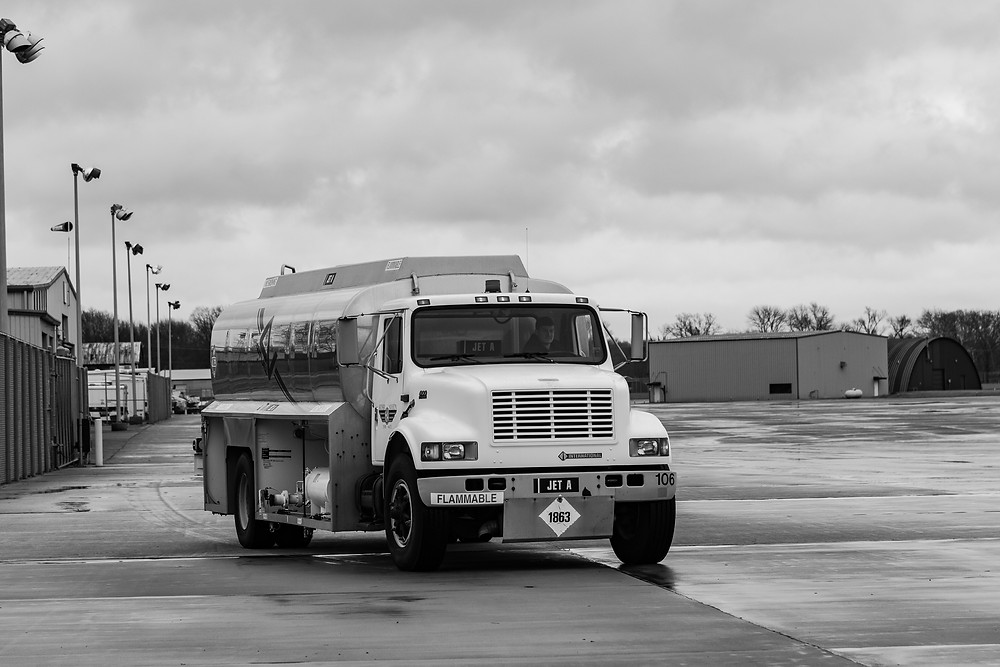 Fuel truck, Jet fuel, at Terre Haute Airport fuel stop on our Ferry Flight