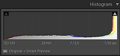 histogram results when exposing for the shadows and dark areas of a scene