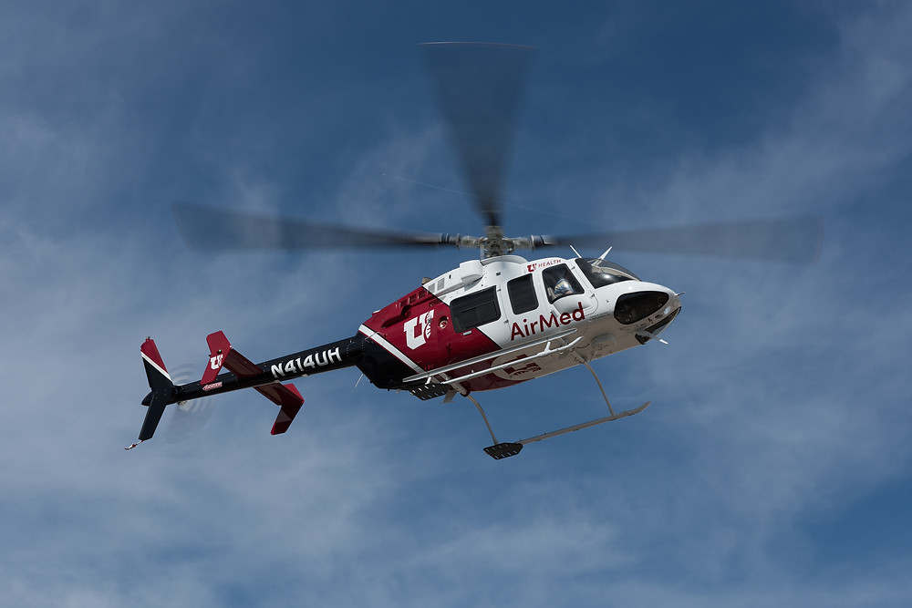Air Med Bell 407 Helicopter operated by Metro Aviation for the University of Utah