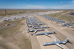 Roswell NM Aircraft boneyard. MD80 airplanes sit in the desert. American airlines abandoned planes.